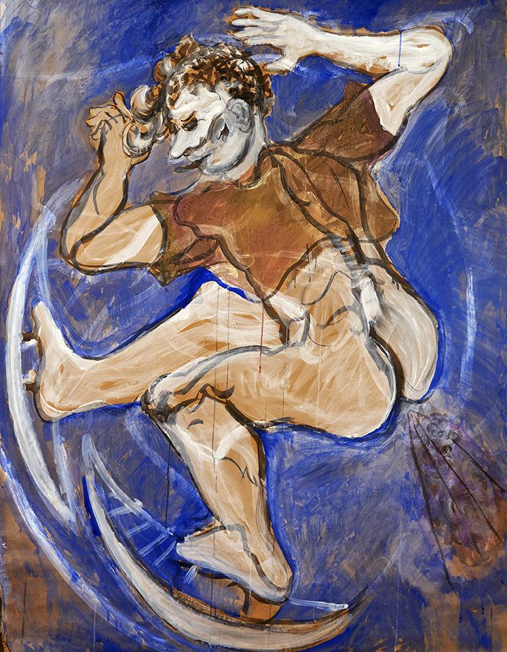 """Galleri-Haag-1183 """"Skøjteløber"""" - Akvarel på kulisse papir. - 200 x 150 cm."""