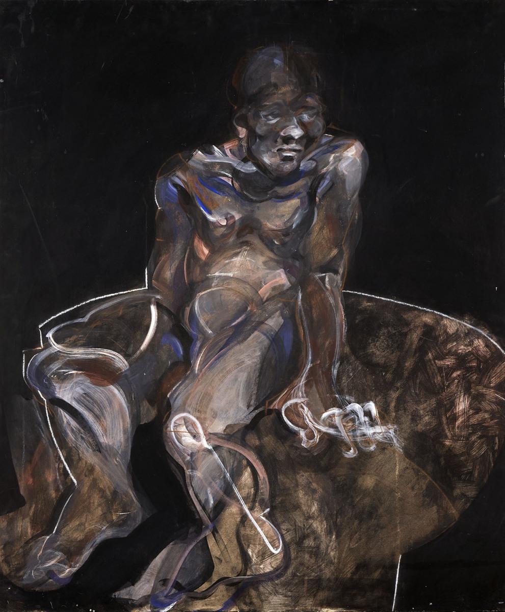 """Haag-Galleri-105- """"Study of male"""" Limfarve og kridt på pap. 1O5 x 110 cm."""