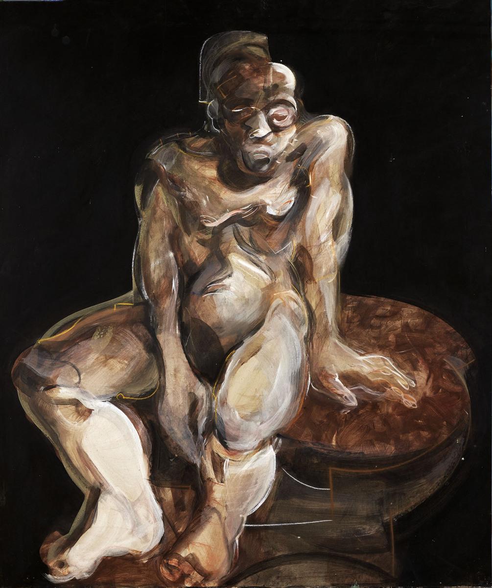 """Haag-Galleri-106- """"Study of male 2."""" Limfarve og kridt på pap. 105 x 110 cm."""