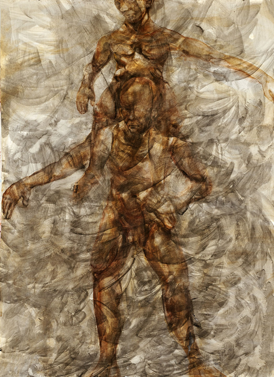"Haag-Galleri-111- ""menneske bære menneske 1."" lim & Kridt -akvarel og acryl på 300 g. papir. 100 x140 cm."