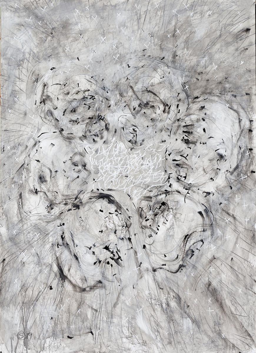 """Haag-Galleri-112 """" heads""""- Acryl og kridt på 300 g. papir. 100 x 140 cm."""