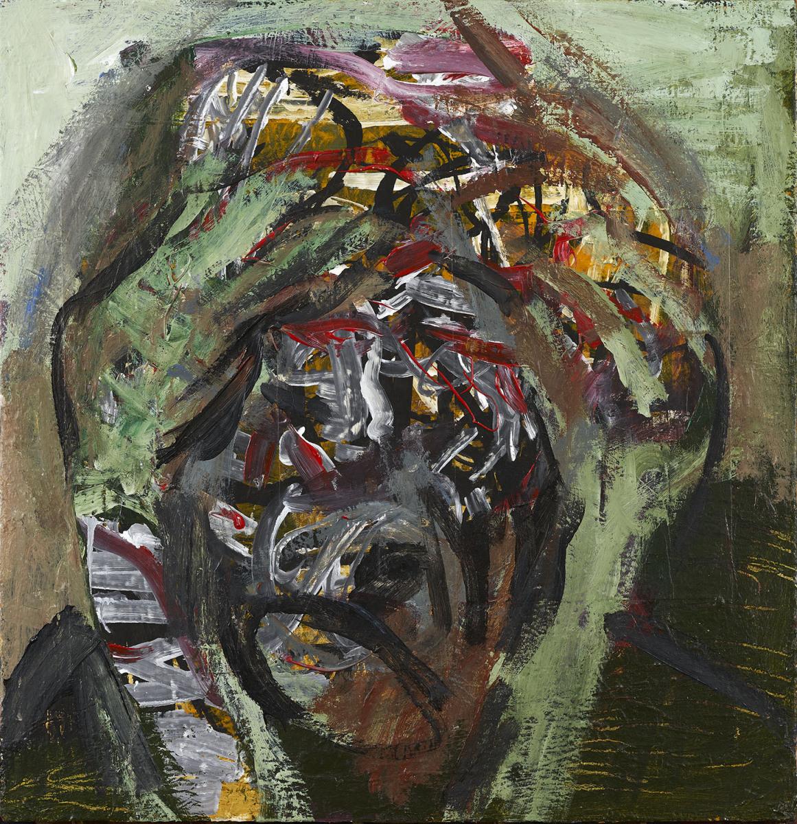 """Haag-Galleri-125 """" Selvportræt"""" Acryl på finer og stof. 61,5 x 63,5 cm."""