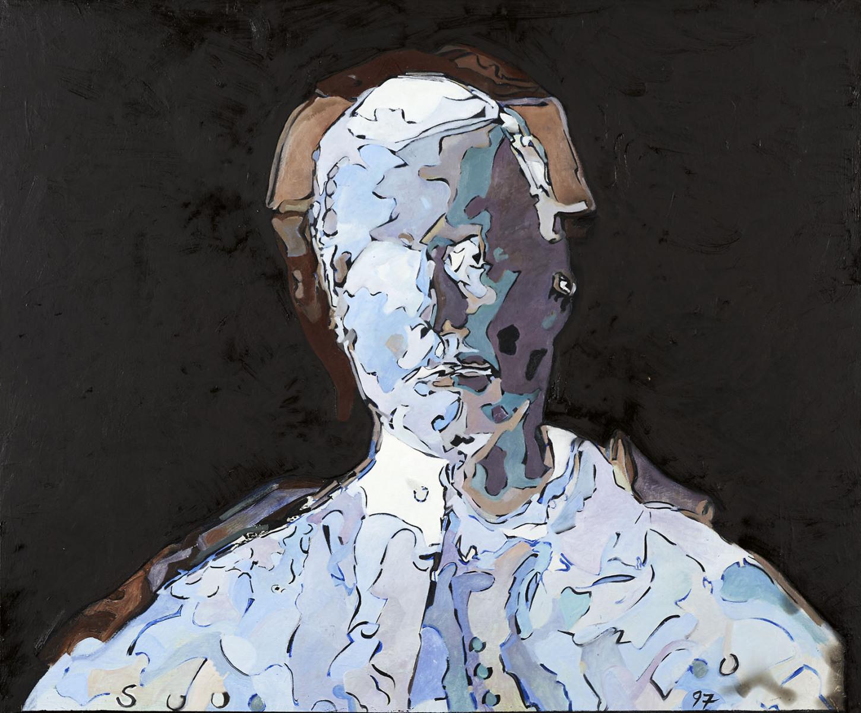 """Haag-Galleri-131 """" Selvportræt"""" Olie på finer. 69 x 84 cm."""