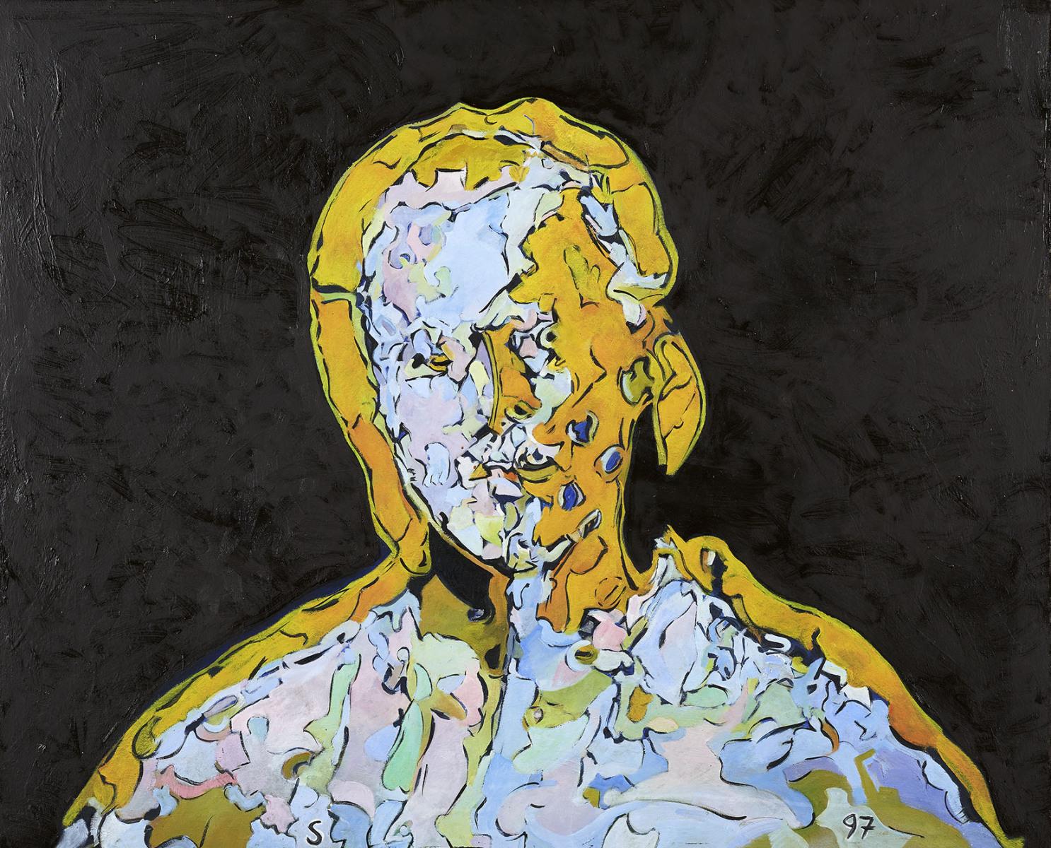 """Haag-Galleri-132"""" Selvportræt. Olie på finer. 69 x 84 cm."""
