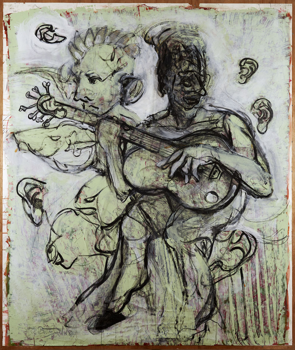 """Haag-Galleri-140 """"Guitarspilleren"""" Acryl på Papir og finer. 18x150 cm."""