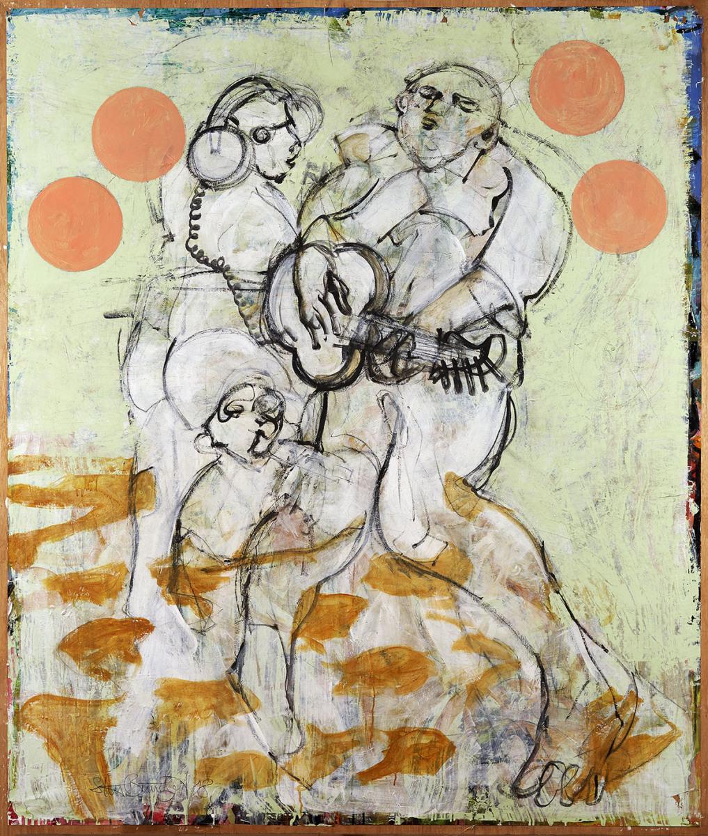 """Haag-Galleri-141 """" Guitarspilleren"""" Acryl på Papir og finer. 180x150 cm."""
