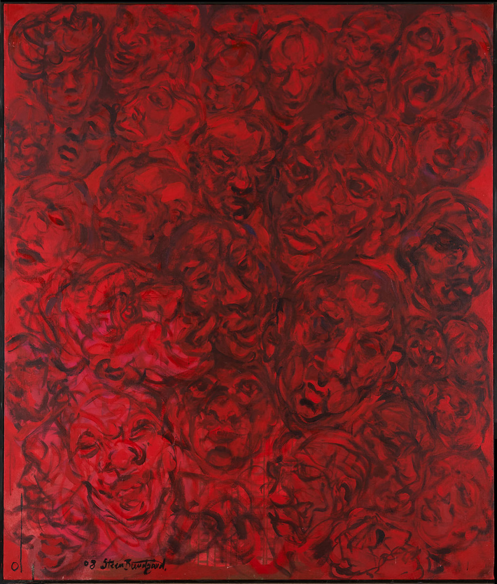 "Haag-Galleri-142 "" Rød hoveder"" Acryl på lærred. 140X120 cm."