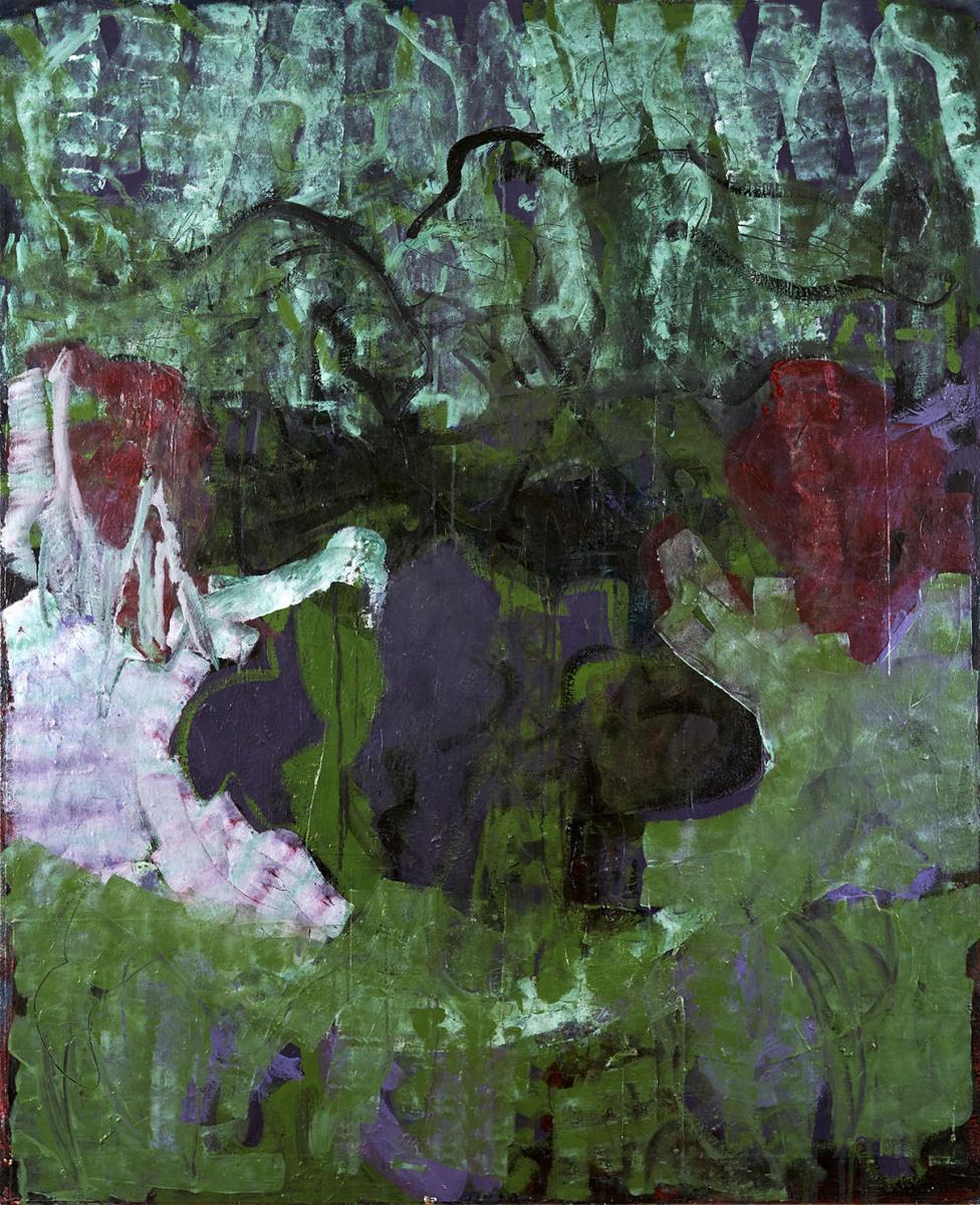 """Haag-Galleri-146 """"Abenland"""" Acryl og papir på lærred. 160X130 cm."""