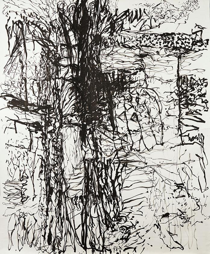 "Galleri-Haag-1182. ""SBIKA "" - Tusch på 200g. Fabriano papir- 180x150 cm."
