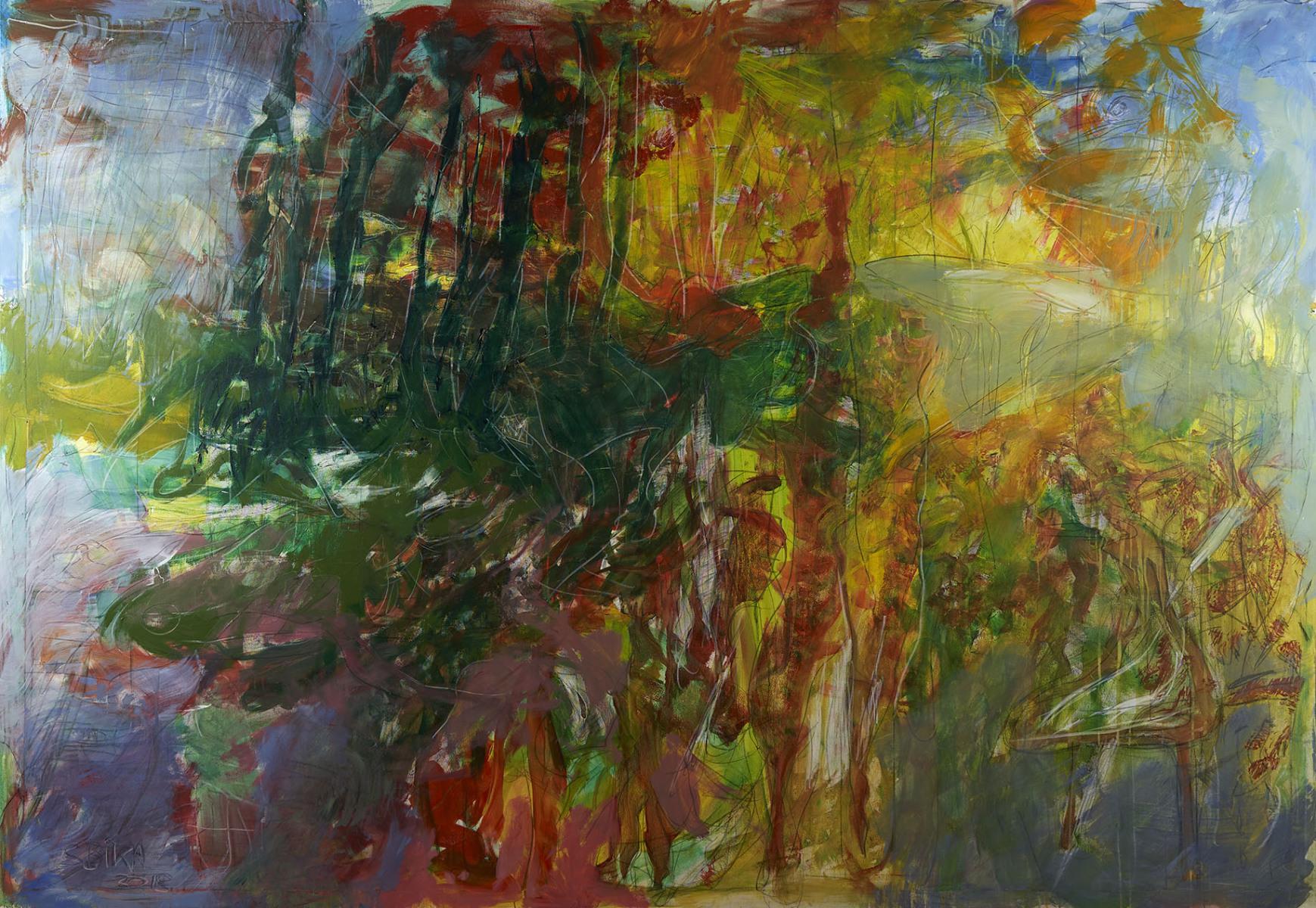 "Haag-Galleri-143 ""Lydlandskab "" Aktion painting. Acryl på lærred. 280X 195 cm."