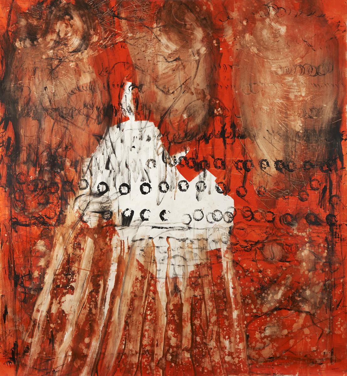 "Haag-Galleri-145 ""Lyd figur"" Aktion painting. Acryl på lærred. 200 x 200 cm."