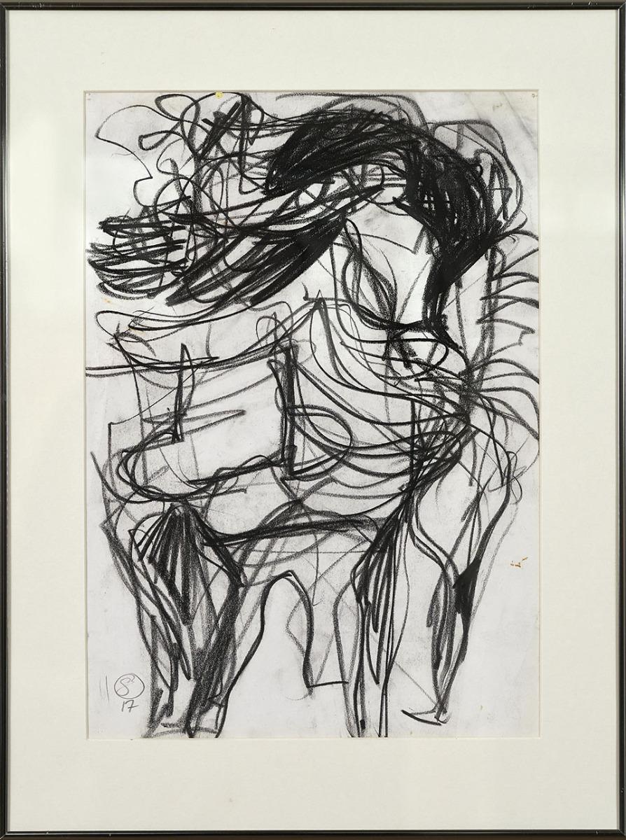 """Galleri-Haag-1195. """" Øvelokale tegning 2 """" - Sort kridt på papir. - 40,5 x 54 cm."""