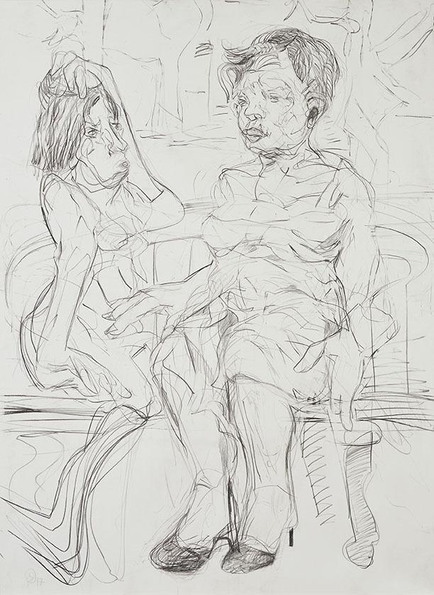 """Galleri-Haag-1185. """" Talk in the park"""" - Grafit på 300 g. papir. - 140 x 100 cm."""