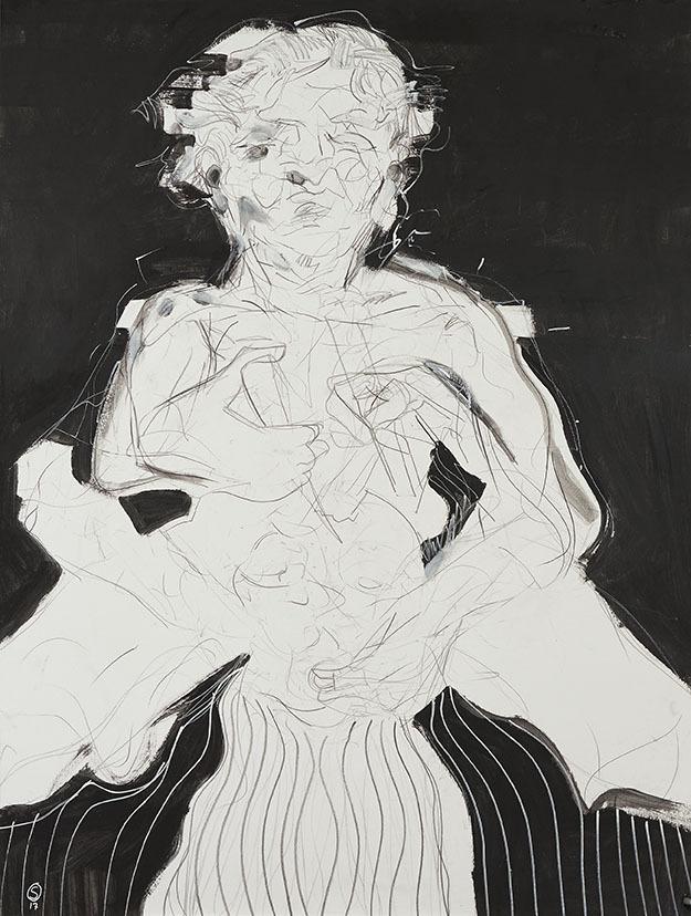 """Galleri-Haag-1186. """" """" Intervention"""" - Acryl og kridt på 300 g. papir.- 140 x 100 cm."""