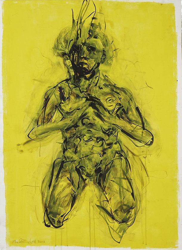 """Galleri-Haag-1187. """" Kvinde studie"""" - Acryl og kridt på 330 g. papir – 140 x 100 cm."""