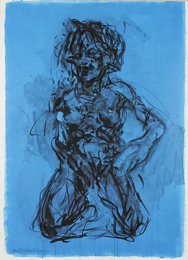 """Galleri-Haag-1188. """" Kvinde studie 2."""" - Acryl på 300 g. papir. - 140 x 100 cm."""