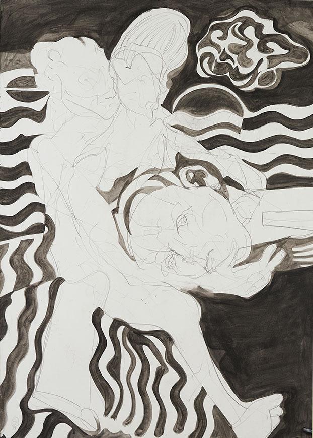 """Galleri-Haag-1189. """" Intervention 2."""" - Aryl maling, kridt og grafit. - 140 x 100 cm."""