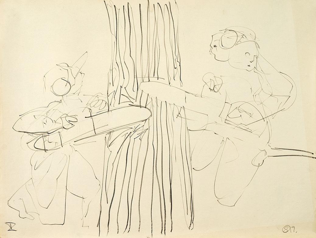 "Galleri-Haag-1209. "" skov mænd"" - Grafit på papir. 84,5 x 64 cm."