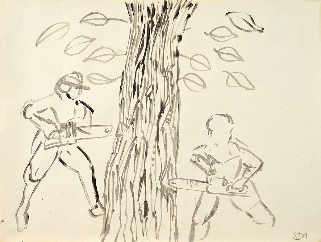 """Galleri-Haag-1210. """" Skovmænd 2."""" - tusch på papir. - 84,5 x 64 cm."""