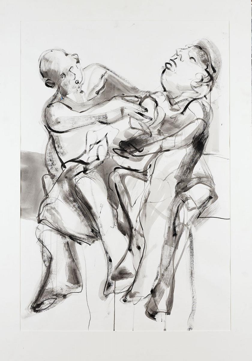 "Haag-Galleri-107 ""Tyven 1."" Sort acryl og kridt på syrefrit papir. 125 x 88 cm."