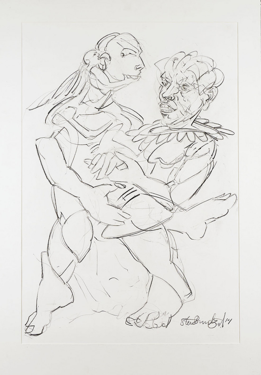 "Haag-Galleri-108 "" Tyven 2"" Sort kridt på syrefrit papir. 125 x 88 cm."