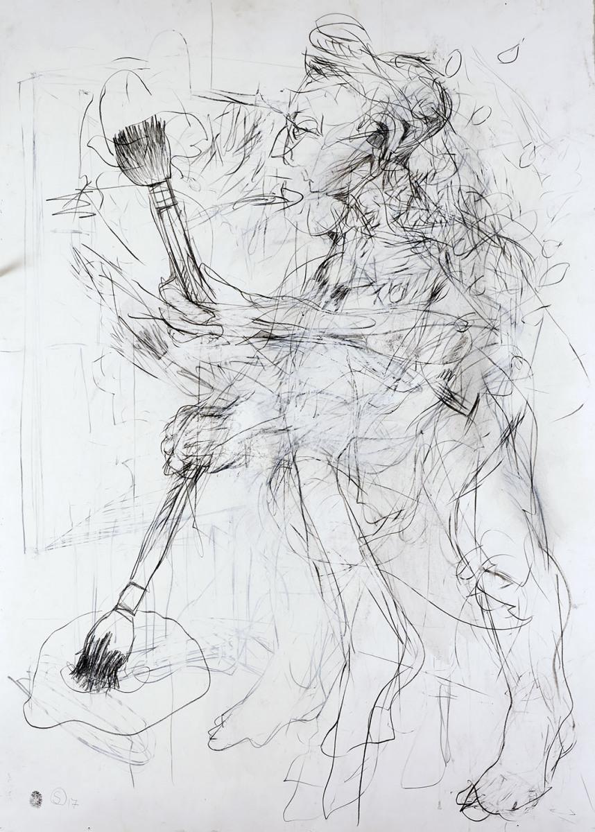 """Haag-Galleri-113 """"Maleren"""" Grafit og sort kridt på 400 g. syrefrit papir. 140X100 cm."""