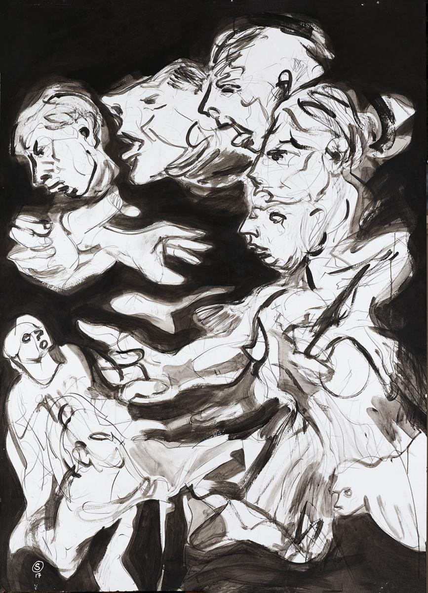 """Haag-Galleri-114 """"I told you so"""" Acryl og gafit på 400 g. Syrefrit papir.140x100 cm."""