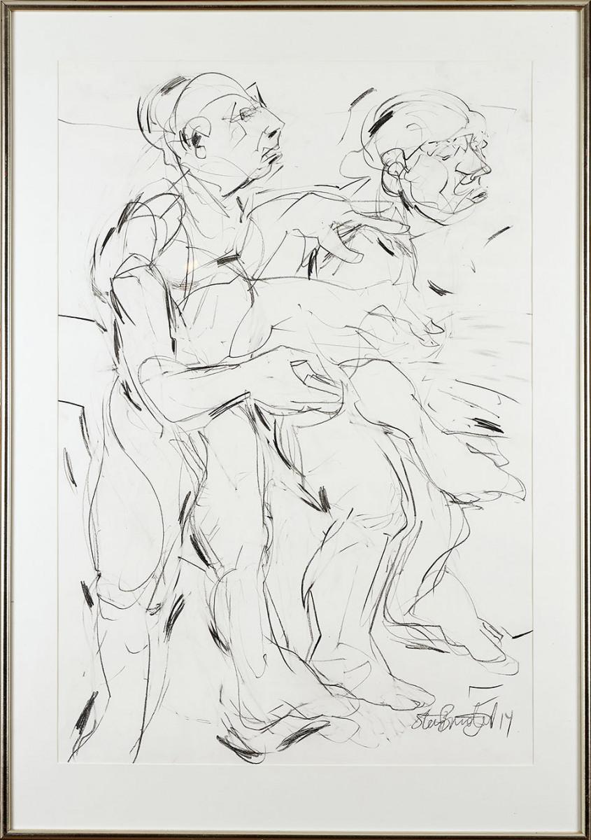 """Haag-Galleri-116 """"Tyven 4"""" Grafit og sortkridt på syrefrit papir. 125 x 88 cm."""