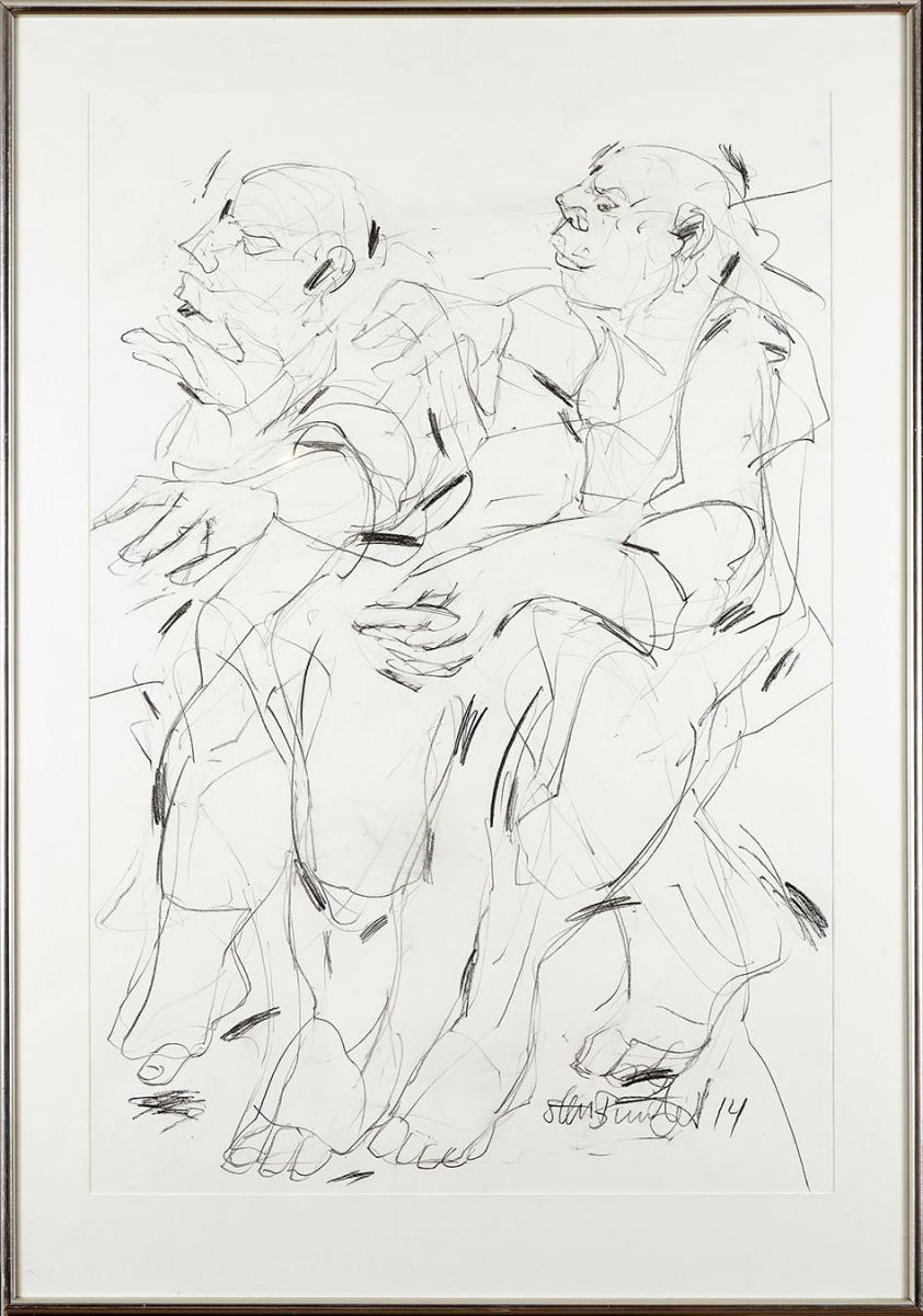 """Haag-Galleri-117 """"Tyven 5"""" Grafit og sortkridt på Syrefrit papir 125 x 88 cm."""