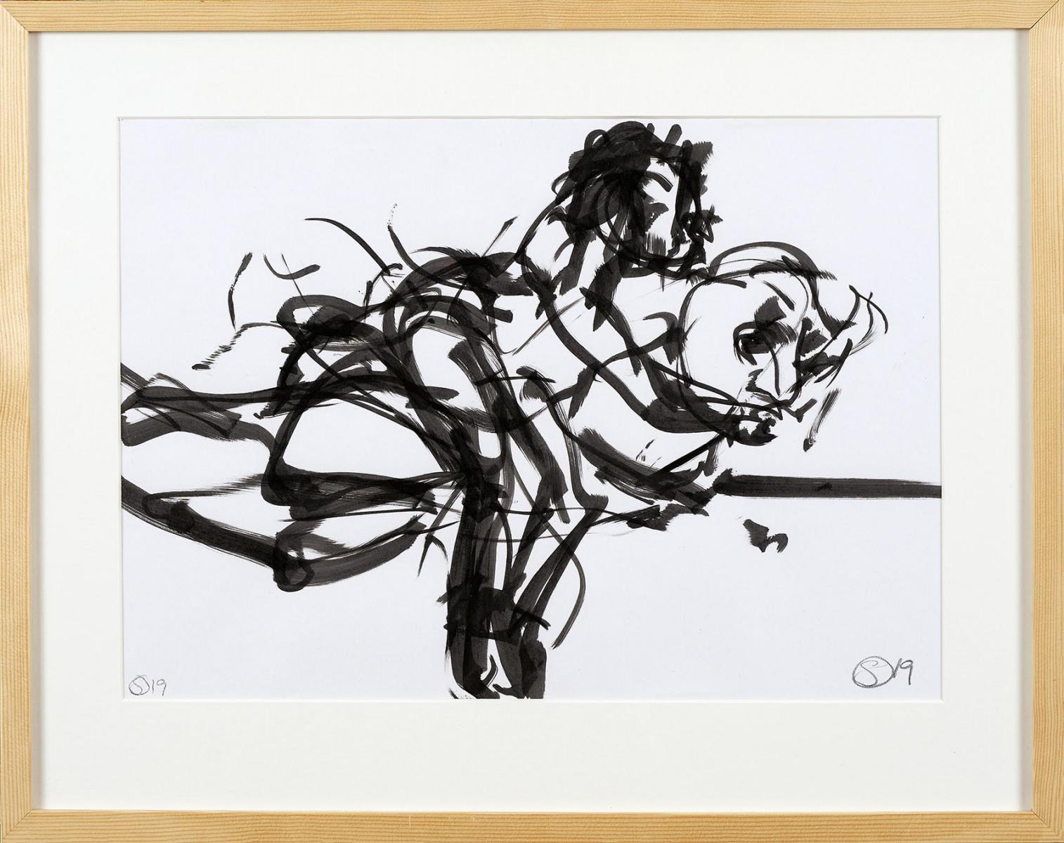 """Haag-Galleri-120 """" Uden titel"""" Tusch på papir. 53 x 42 cm."""