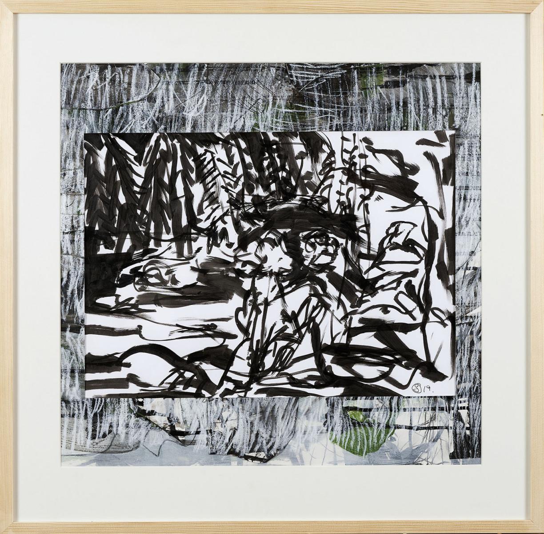 "Haag-Galleri-121 "" Barndommens landskab- Svanninge"" Collage, acryl,og tusch på papir. 62,5 x 61,5 cm."