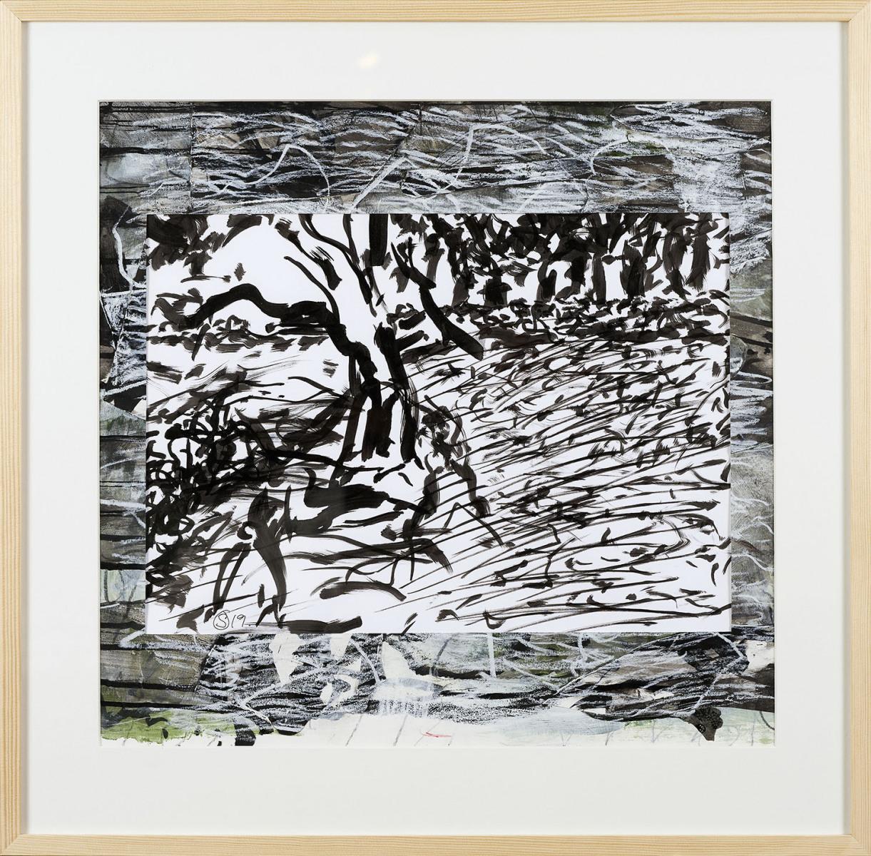 "Haag-Galleri-122 ""Barndommens landskab -Svanninge 2"" Collage,acryl og tusch på papir. 62,5 x 61,5 cm"