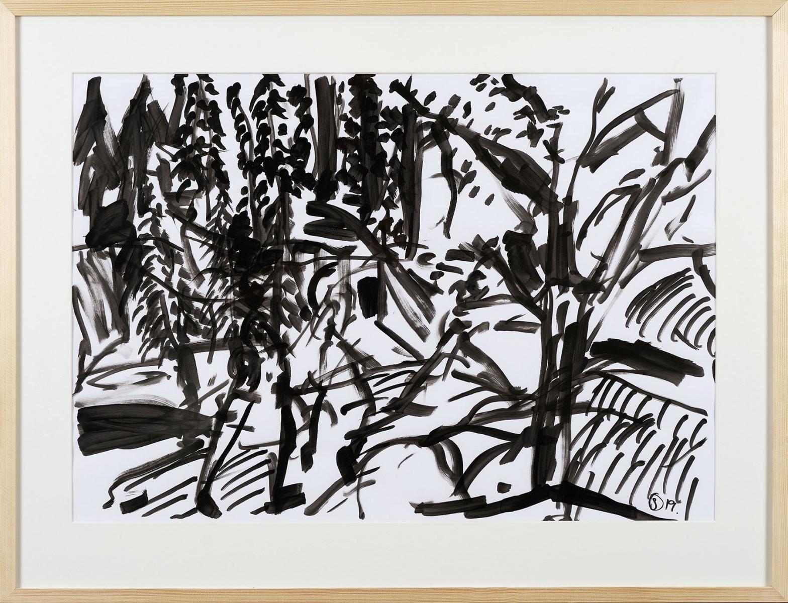 "Haag-Galleri-123 "" Barndommens landskab- Svanninge 3"" tusch på papir. 76,5 x 58,5 cm."