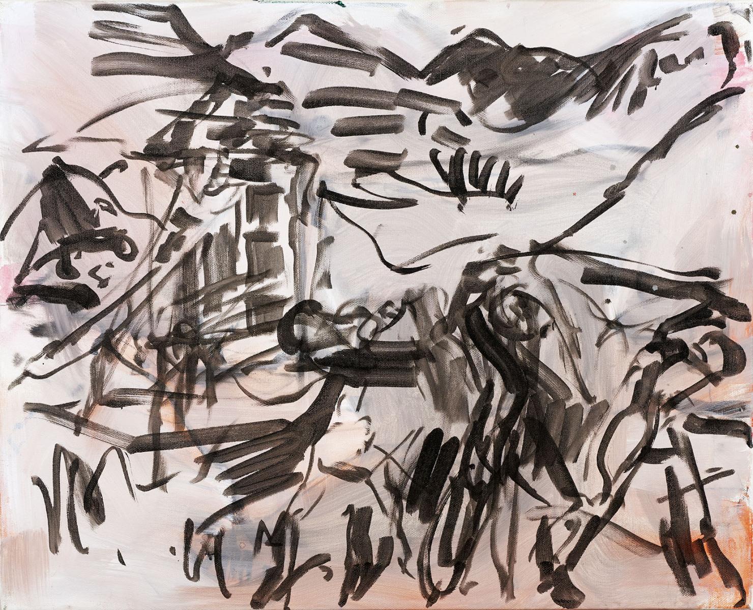 """Haag-Galleri-129 """"Barndommens grusgrav-Svanninge 4"""" Tusch på lærred. 61,5 x 49, 5 cm."""